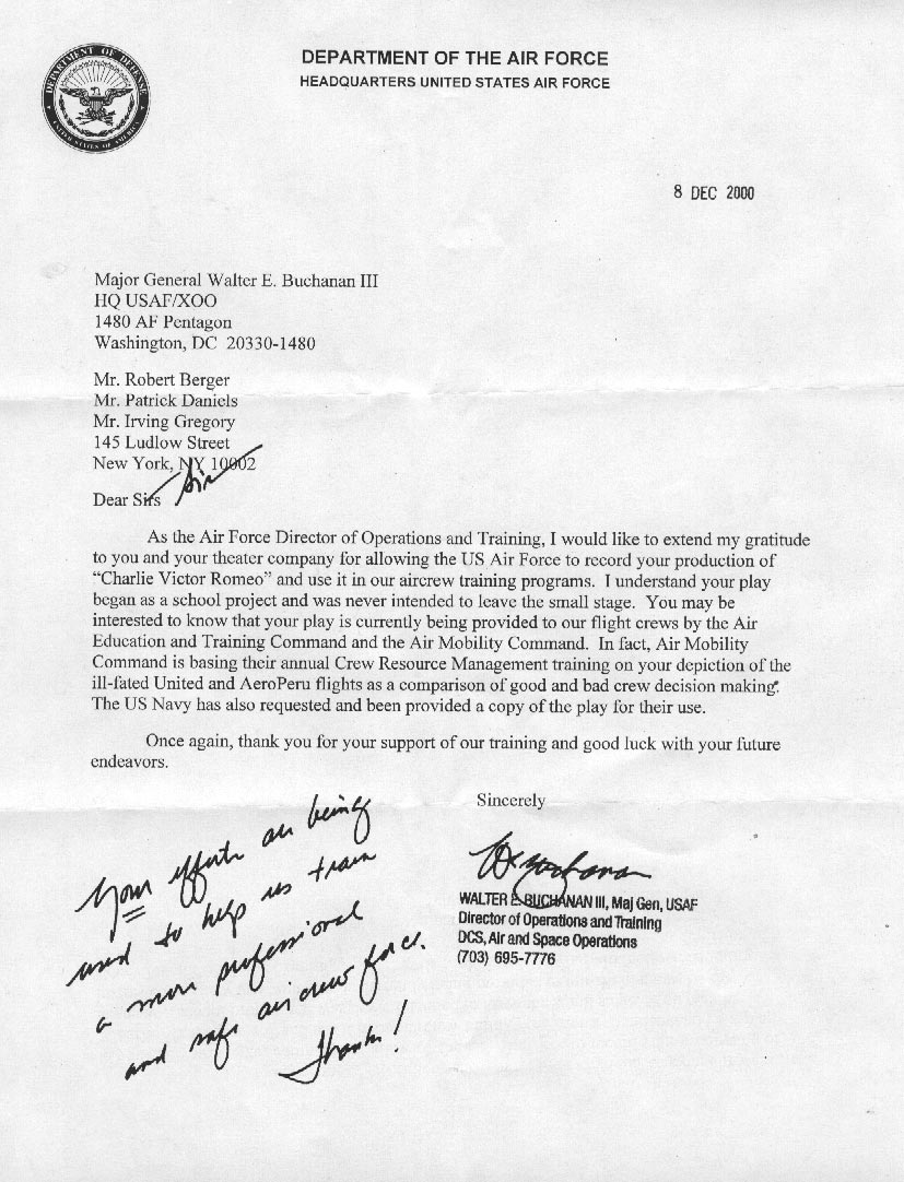 US Air Force LETTER